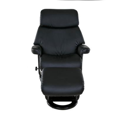Classic Black Bonded Leather Recliner with Ottoman