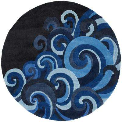 Young Buck Collection Surf 5 ft. x 5 ft. Round Area Rug
