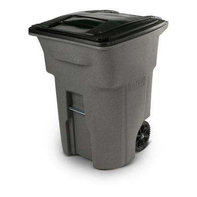 96 Gal. Greystone Trash Can with Wheels and Attached Lid