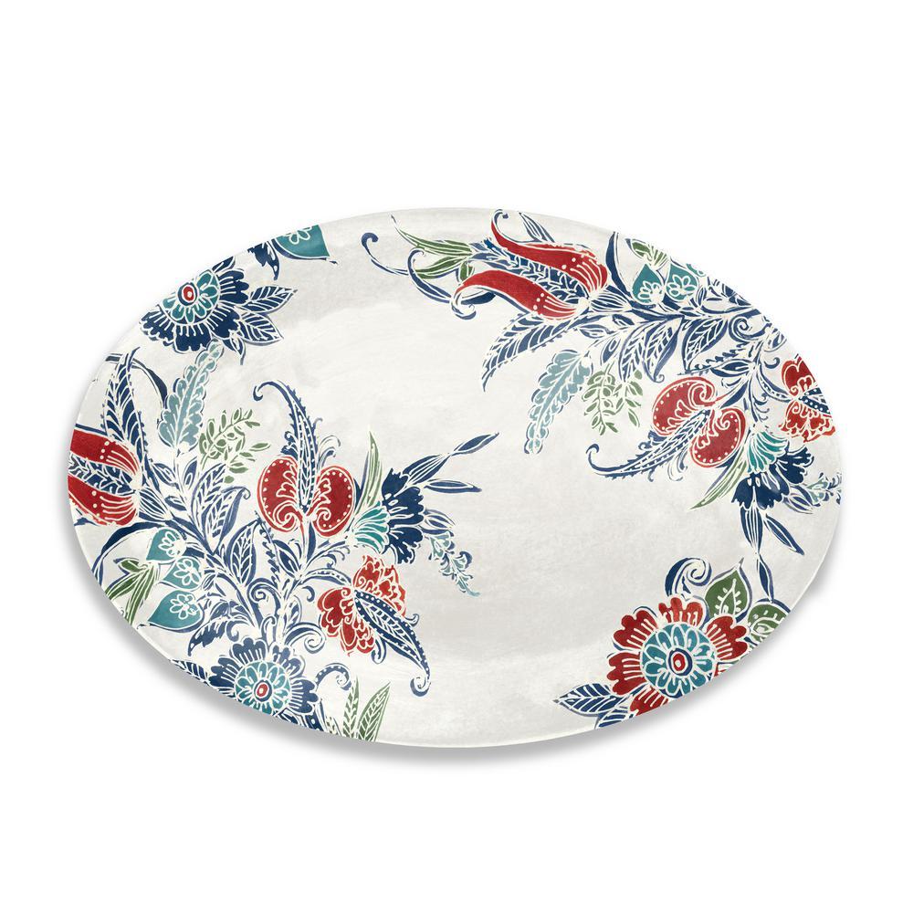Havana Melamine Floral Oval Platter (Set of 1)