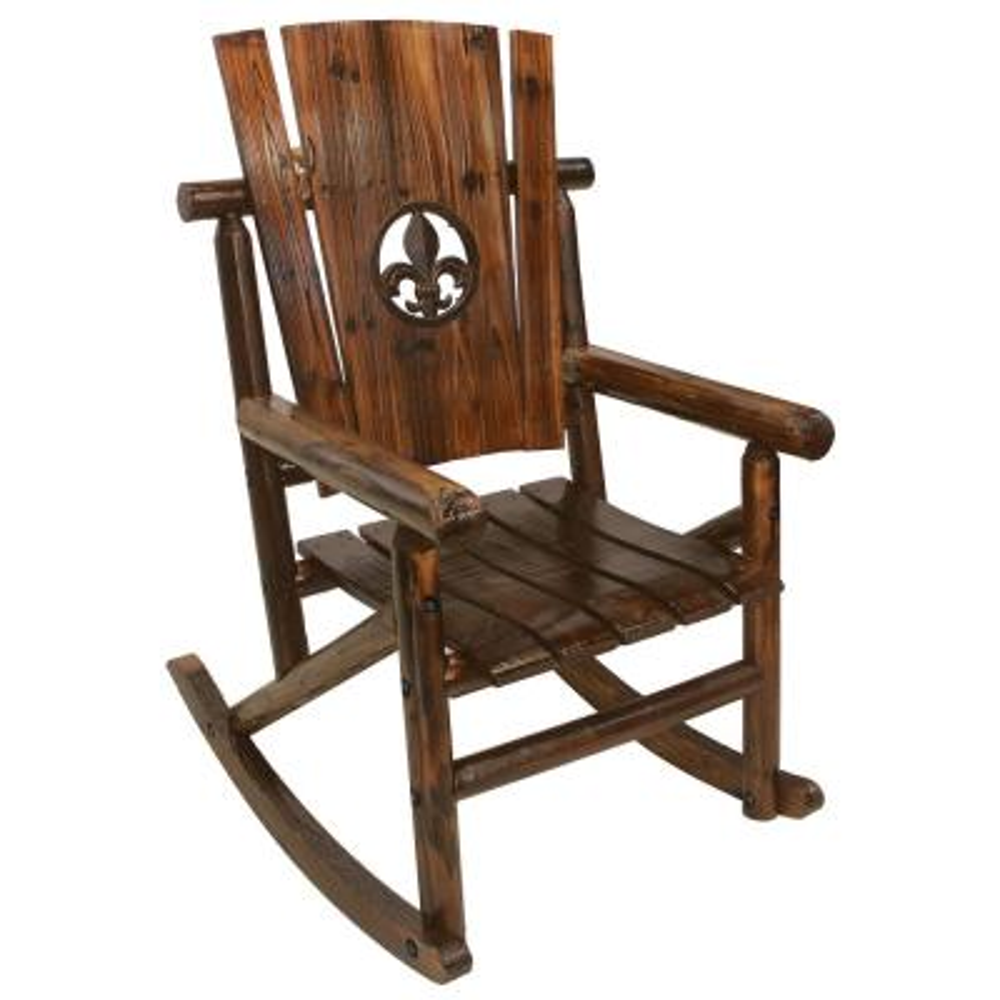 Char Log Patio Rocking Chair With Fleur De Lis