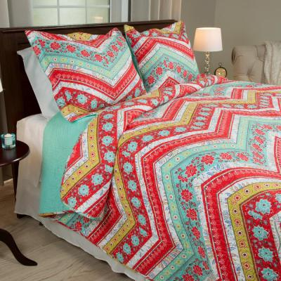 Zina Red Polyester King Quilt