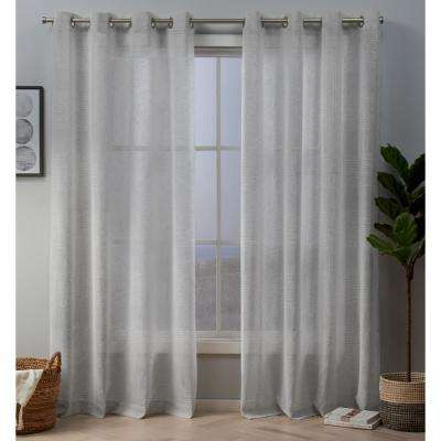 Crest 54 in. W x 96 in. L Sheer Grommet Top Curtain Panel in Silver (2 Panels)