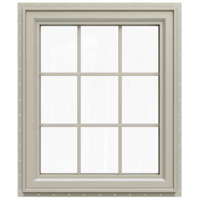 29.5 in. x 29.5 in. V-4500 Series Left-Hand Casement Vinyl Window with Grids - Tan