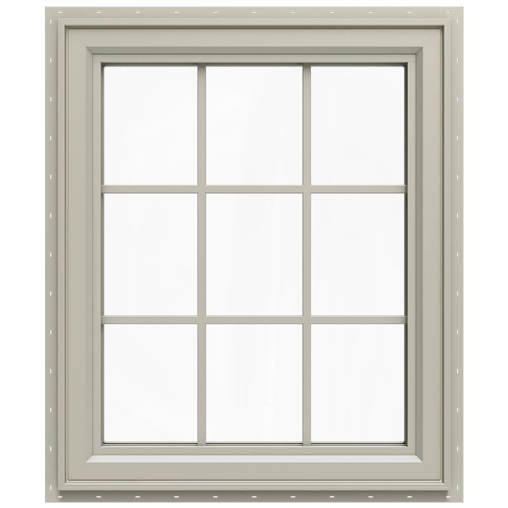 35.5 in. x 35.5 in. V-4500 Series Left-Hand Casement Vinyl Window with Grids - Tan