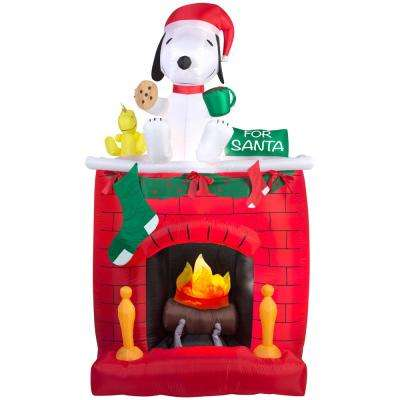 49.21 in. W x 25.59 in. D x 83.86 in. H Inflatable Fire and Ice Snoopy on Fireplace Scene