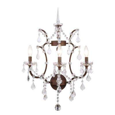 Elena 3-Light Rustic Intent Royal Cut Crystal Wall Sconce