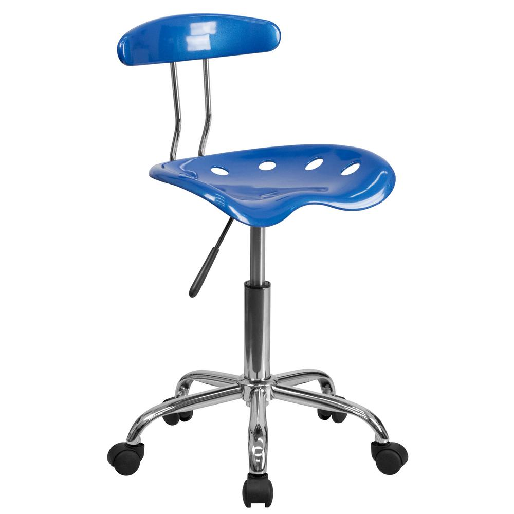 blue task chair. Flash Furniture Vibrant Bright Blue And Chrome Task Chair With Tractor Seat A