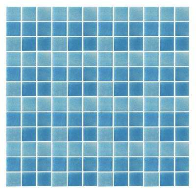 Spongez S-Light Blue-1408 Mosiac Recycled Glass Mesh Mounted Floor and Wall Tile - 3 in. x 3 in. Tile Sample