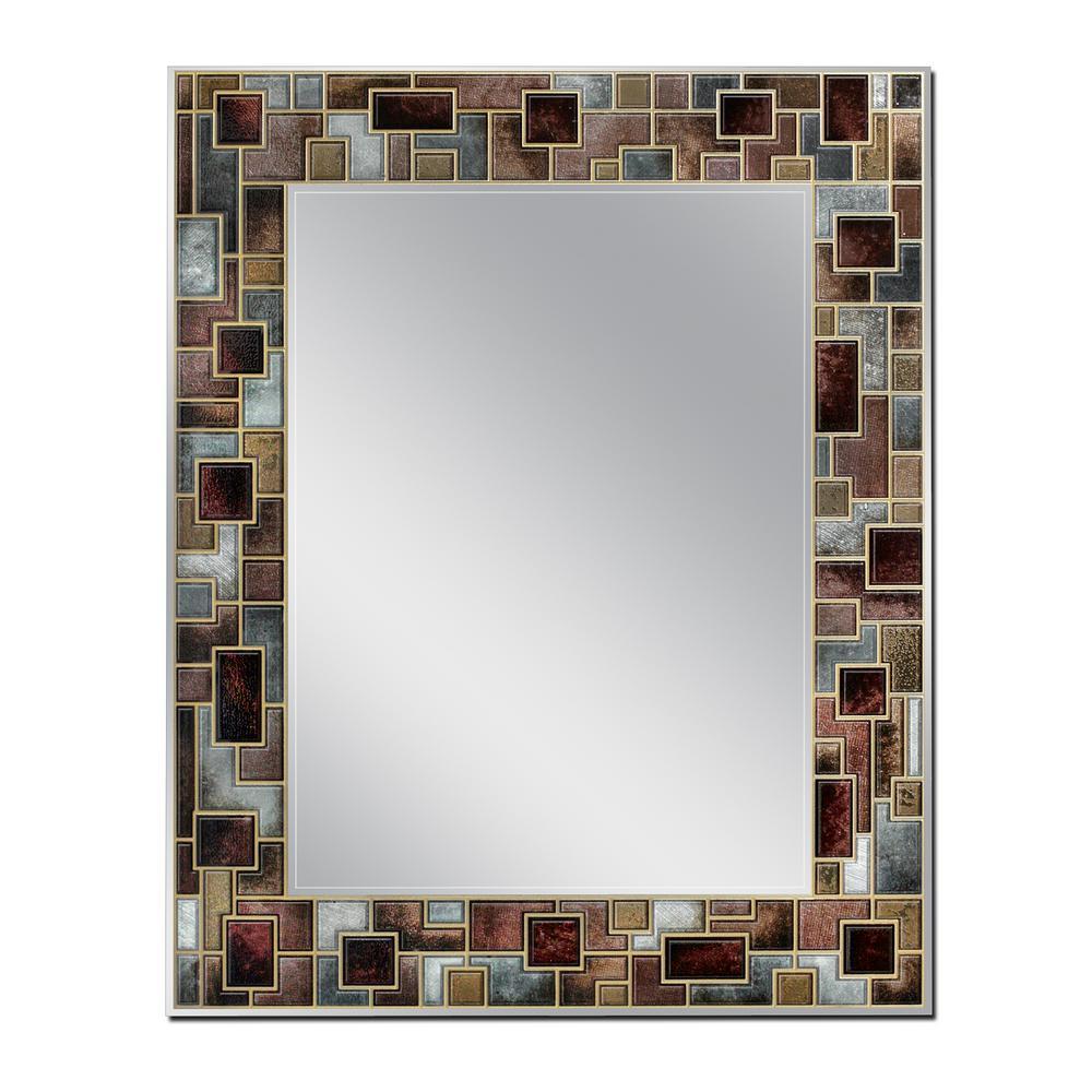 Modern Mosaic 23.5 in. x 29.5 in. Single Frameless Wall Mirror