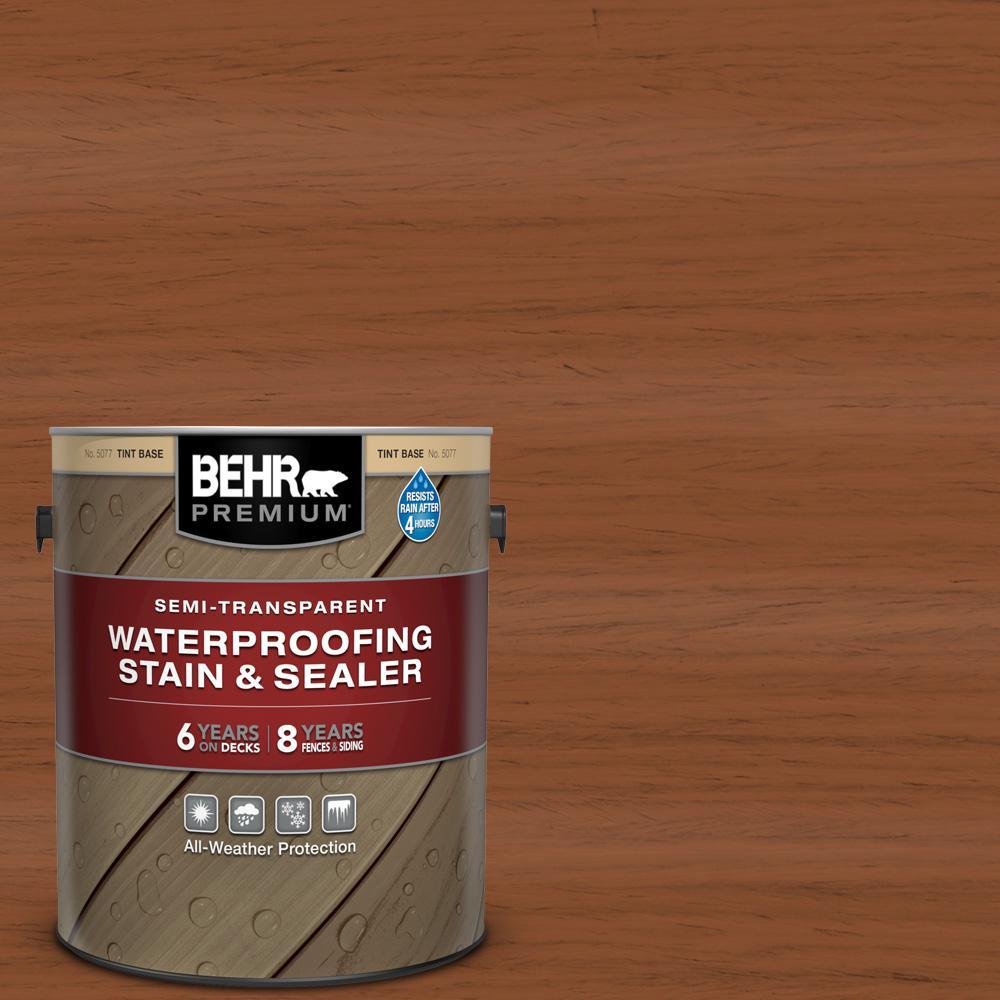 BEHR Premium 1 gal. #ST-122 Redwood Naturaltone Semi-Transparent Waterproofing Exterior Wood Stain and Sealer