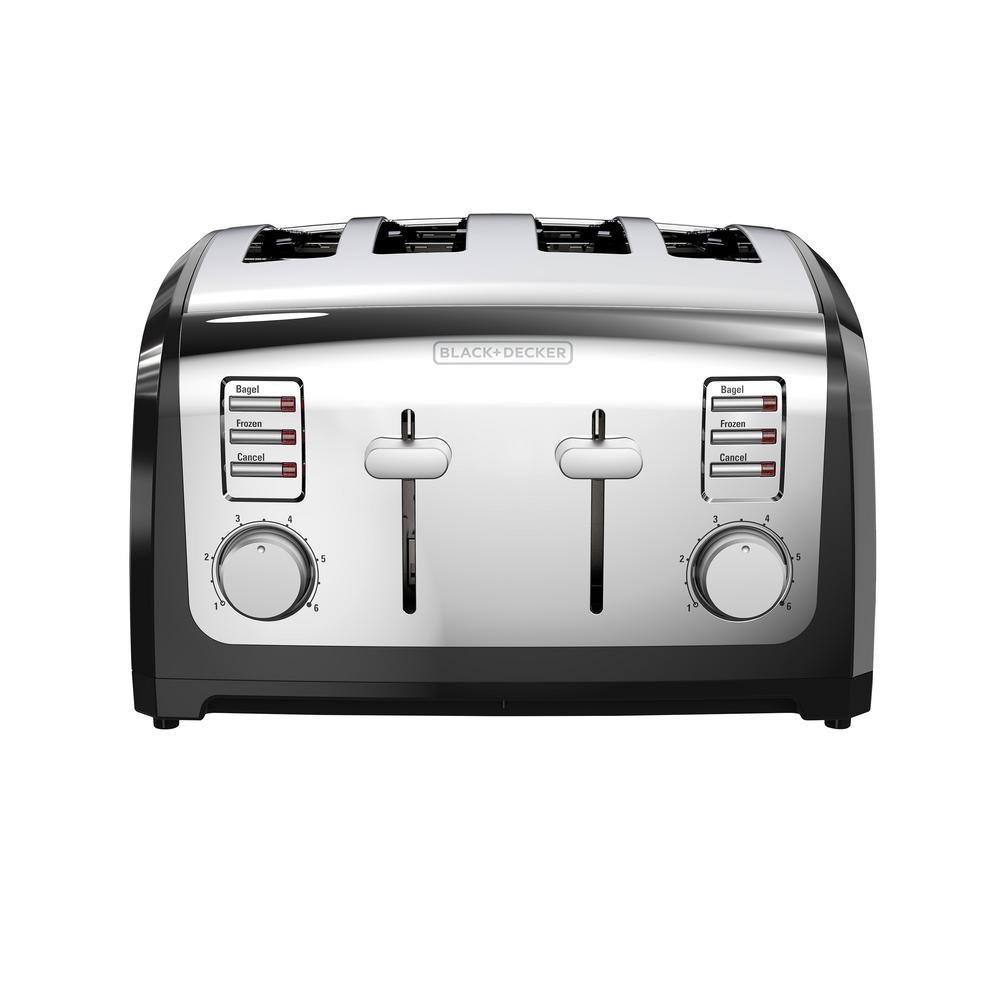 4-Slice Stainless Steel (Silver) Extra Wide Toaster BLACK+DECKER Toasters have a sleek design and multiple function that make a perfect addition to any countertop. With extra-wide slots that fit everything from bagels to artisan bread slices, toasting is even easier. Removable crumb tray and cord wrap make cleanup a breeze. Color: Stainless Steel.