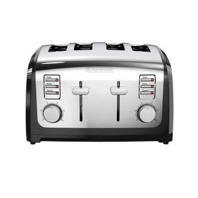4-Slice Stainless Steel Wide Slot Toaster with Crumb Tray