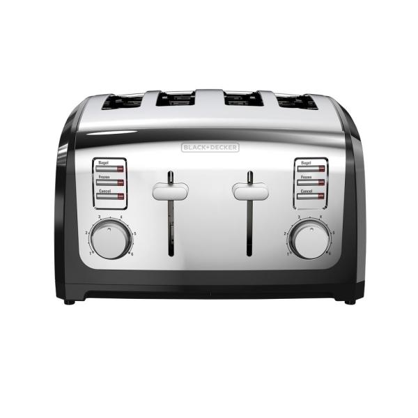 BLACK+DECKER 4-Slice Stainless Steel Wide Slot Toaster with Crumb Tray