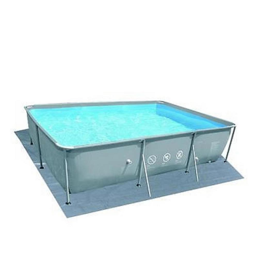 Pool Central 19.5 ft. Rectangular Steel Frame Swimming Pool Ground Cloth