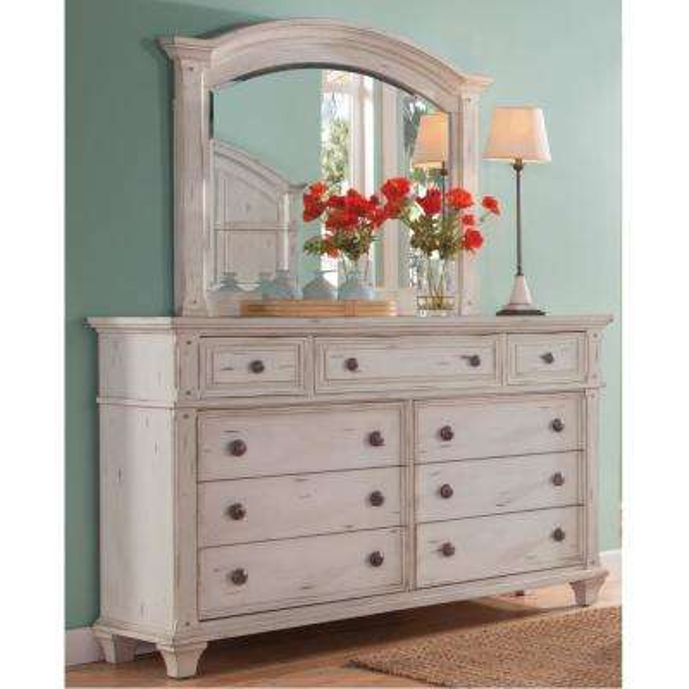 Sedona 9-Drawer Antique Cobblestone White Dresser with Mirror