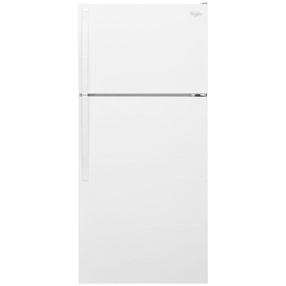 Whirlpool 14.3 cu. ft. Top Freezer Refrigerator in White Fit all of your fresh and frozen favorites without sacrificing any space inside this 28 in. wide Whirlpool top-freezer refrigerator with 14 cu. ft. capacity. Freezer temperature controls allow you to adjust the temperature level of cold air in the freezer compartment and the optional icemaker ensures you'll always have plenty of ice on hand. Plus, enjoy quiet cooling in the top-freezer refrigerator with our improved design. Color: White.