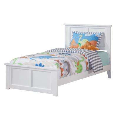 Madison White Twin Traditional Bed with Matching Foot Board