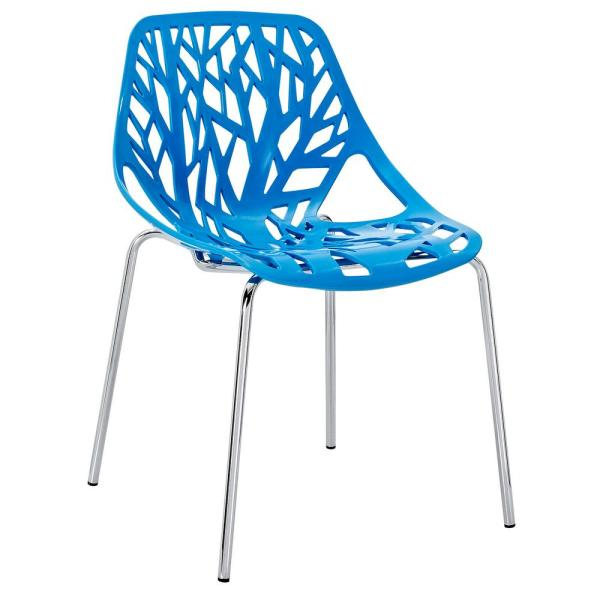 MODWAY Blue Stencil Dining Side Chair EEI-651-BLU
