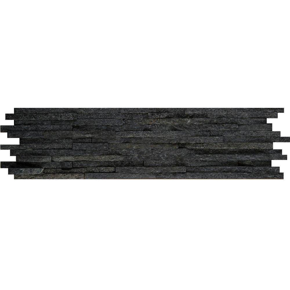 Black Mini Stacked 6 in. x 24 in. Quartzite Slate Floor