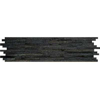 Black Mini Stacked 6 in. x 24 in. Quartzite Slate Floor and Wall Tile