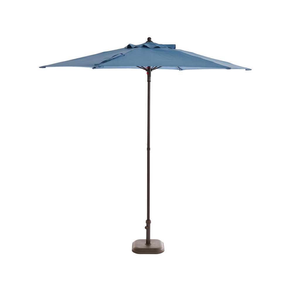 Hampton Bay 7.5 ft. Steel Market Patio Umbrella in Denim