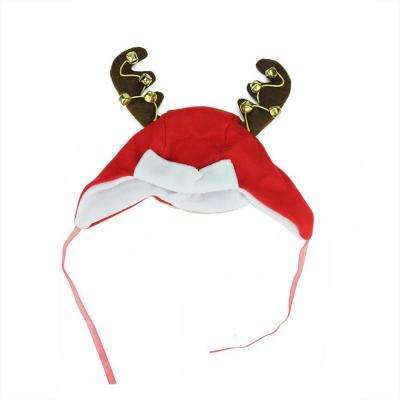 12 in. Christmas Plush Winter Trapper Hat with Jingle Bell Reindeer Antlers in Red and White