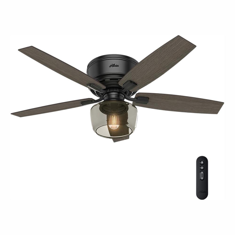 Hunter Bennett 52 in  LED Low Profile Matte Black Indoor Ceiling Fan With  Globe Light Kit and Handheld Remote Control