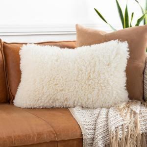Karalla Ivory Faux Fur Polyester Fill 14 in. x 22 in. Decorative Pillow