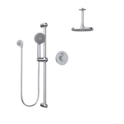 Delphi 1-Spray Round Hand Shower and Showerhead from Ceiling Combo Kit with Slide Bar and Valve in Polished Chrome