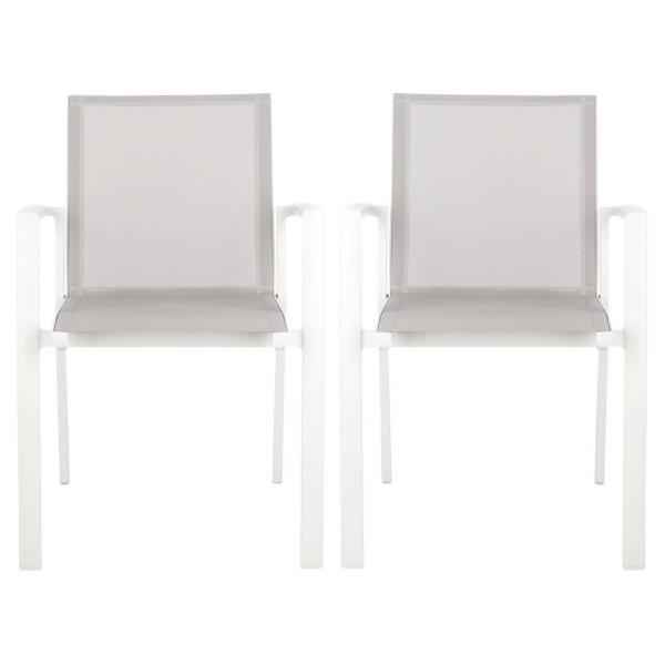 Safavieh Negan Gray White Stackable Metal Outdoor Dining Chair 2 Pack Pat4035a Set2 The Home Depot
