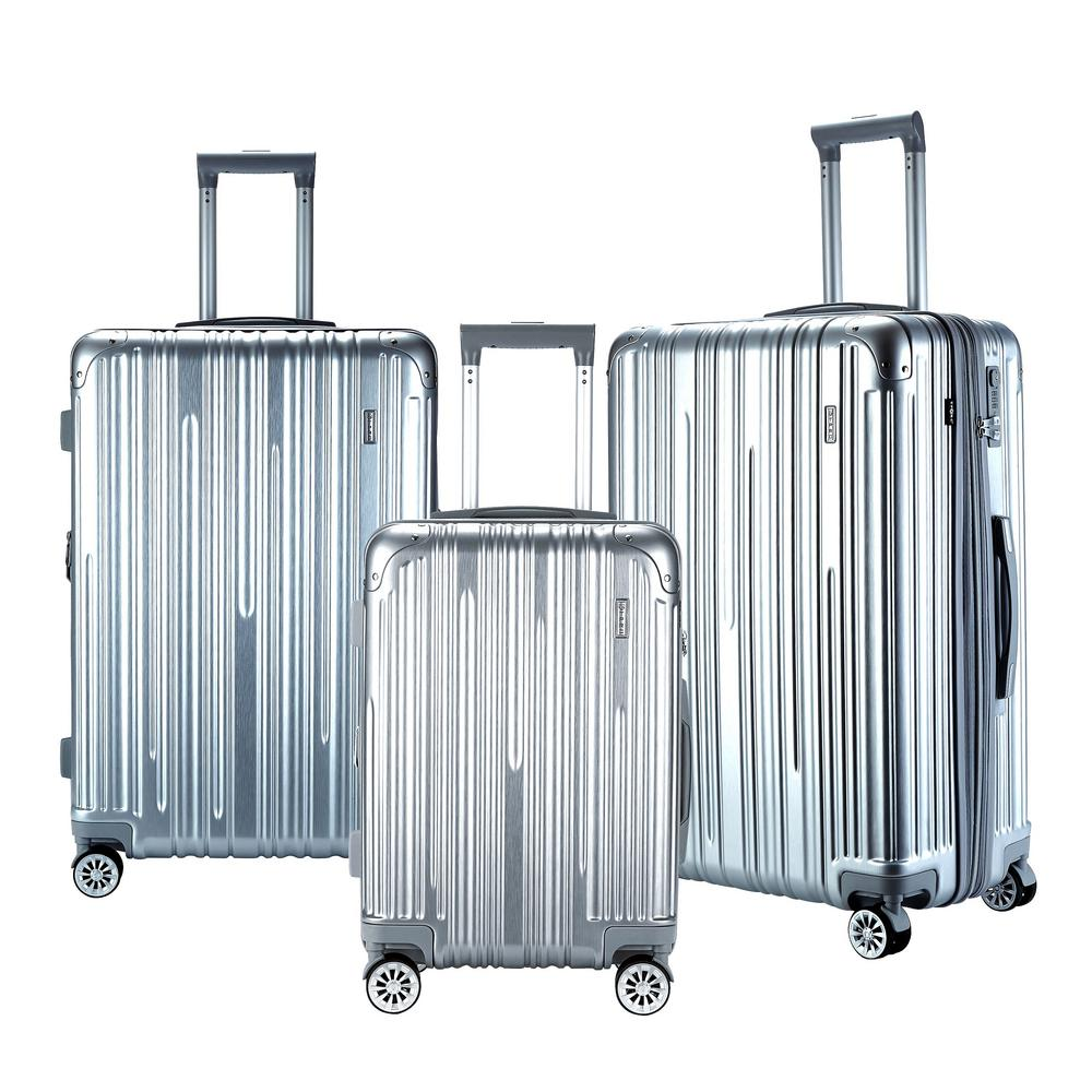 NURMI Silver Hardside Rolling Vertical Luggage Set with Spinner Wheels (3-Piece)