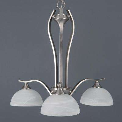Glacier Point Collection 3-Light Satin Nickel Hanging Chandelier with Ivory Cloud Glass Shade
