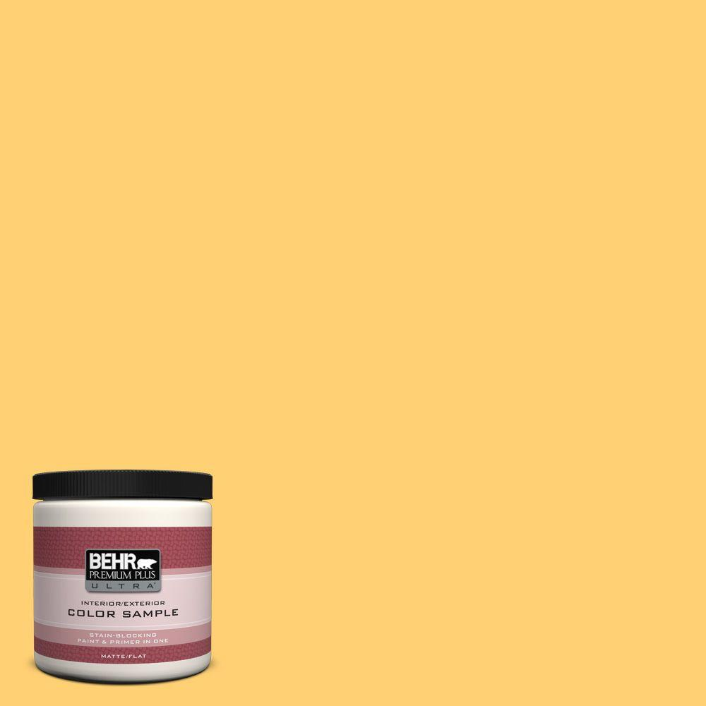 BEHR Premium Plus Ultra 8 oz. #320B-6 Mellow Yellow Flat Interior/Exterior Paint and Primer in One Sample