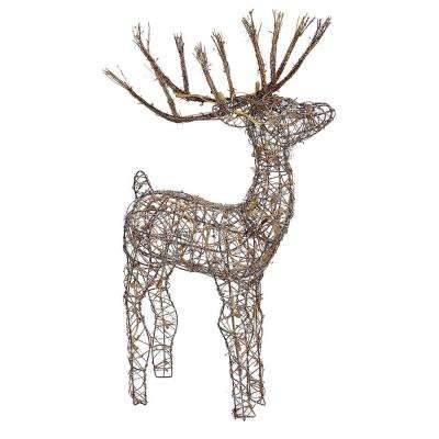 35 in. Rattan Reindeer with 50-Halogen Lights (Plug-In)