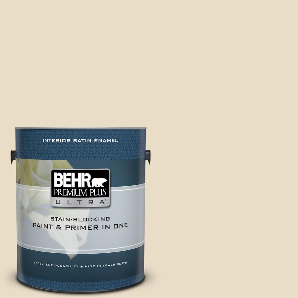 Behr Premium Plus Ultra 1 Gal 22 Navajo White Satin Enamel Interior Paint And