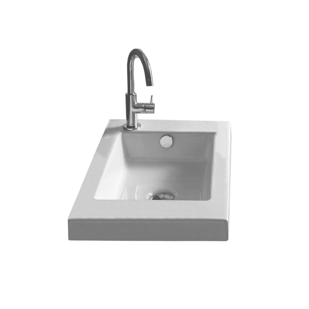 Nameeks Serie 35 Drop In Ceramic Bathroom Sink Tecla 3503011 One Hole The Home Depot