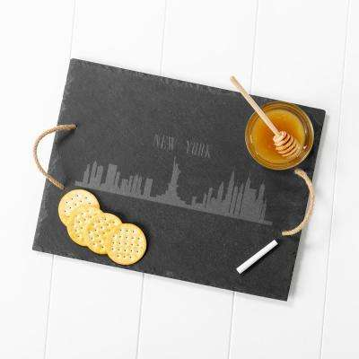 New York City Skyline Black Slate Serving Tray
