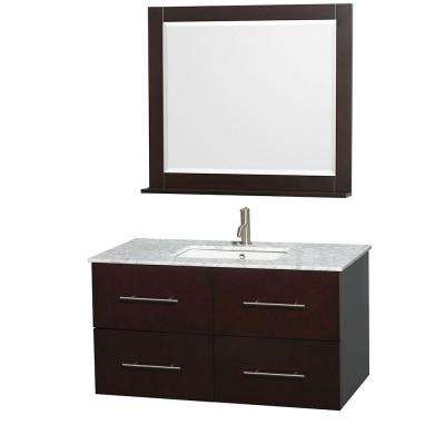 Centra 42 in. Vanity in Espresso with Marble Vanity Top in Carrara White, Square Sink and 36 in. Mirror