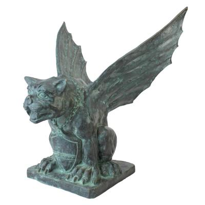 22 in. H Winged Gargoyle of Naples Bronze Garden Statue