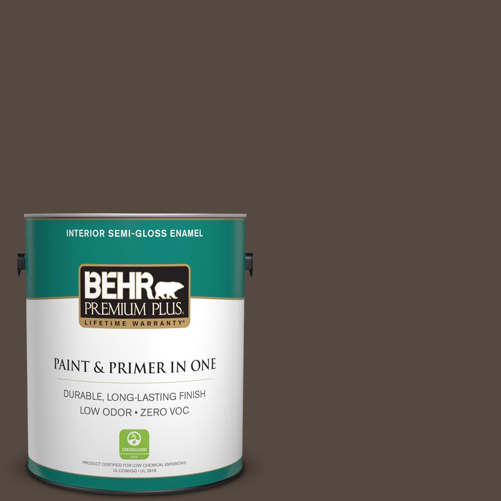 1 gal. #PPU5-19 Dark Truffle Zero VOC Semi-Gloss Enamel Interior Paint