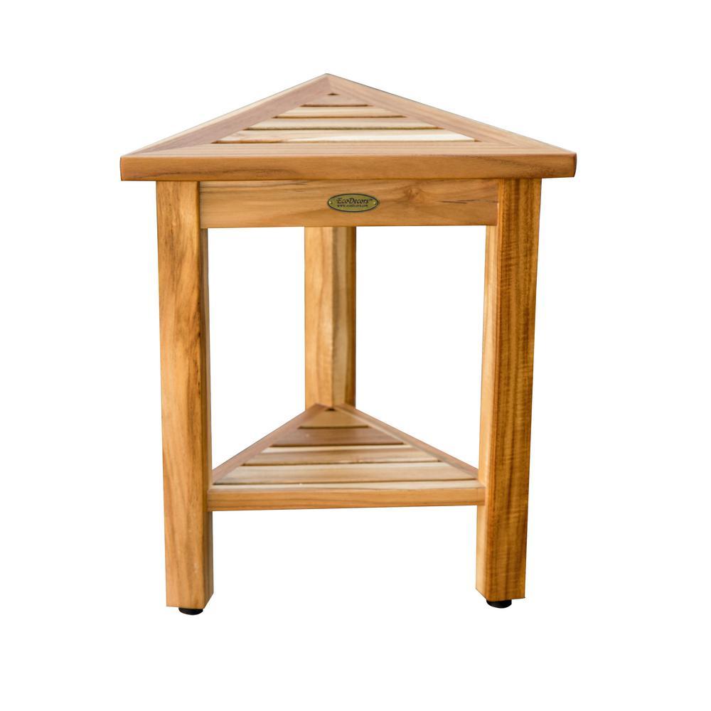 FlexiCorner Triangular Teak Modular Stool, Table with Shelf in Natural Teak