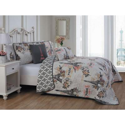 Cherie 5-Piece Coral Queen Quilt Set