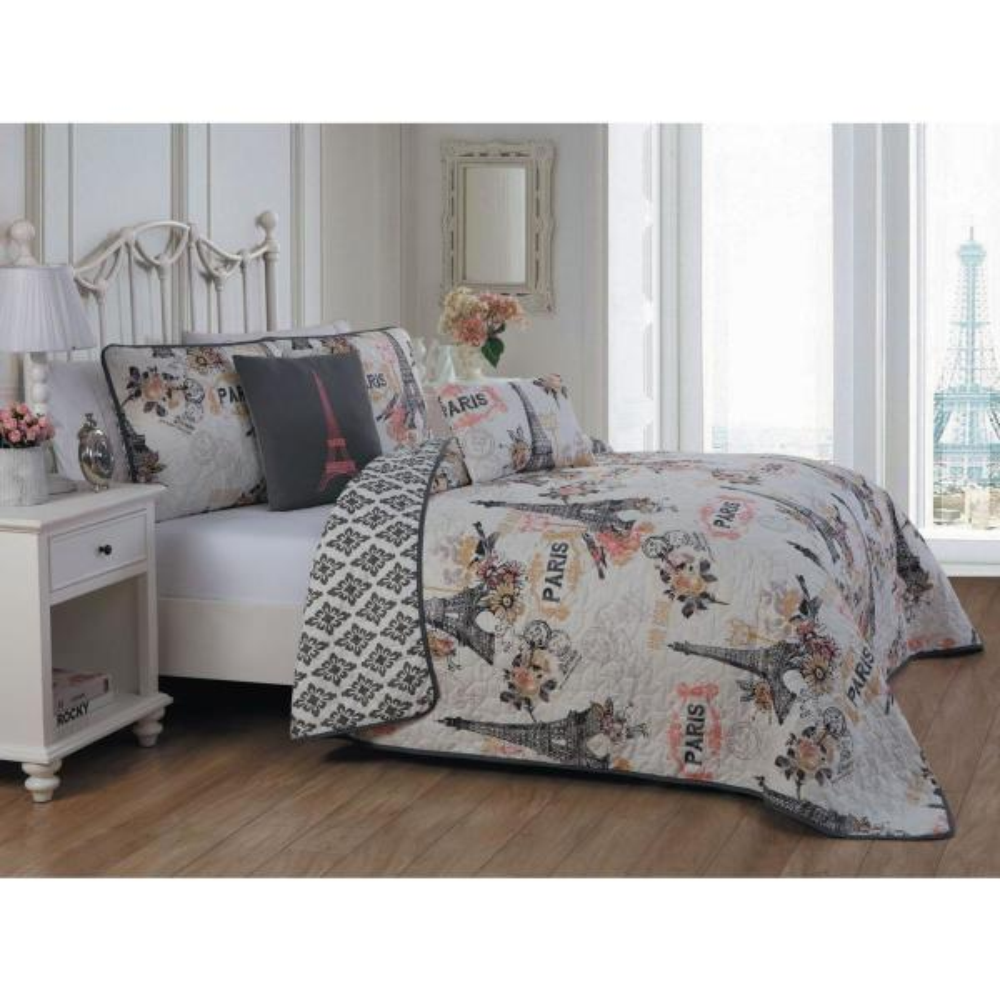 Avondale Manor Cherie 5-Piece Coral Queen Quilt Set CRE5QTQUENGHCO