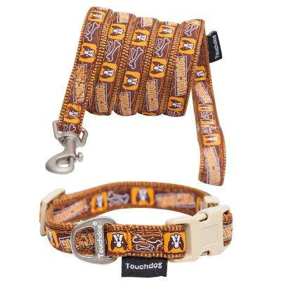 Small Brown Caliber' Designer Embroidered Fashion Pet Dog Leash and Collar Combination