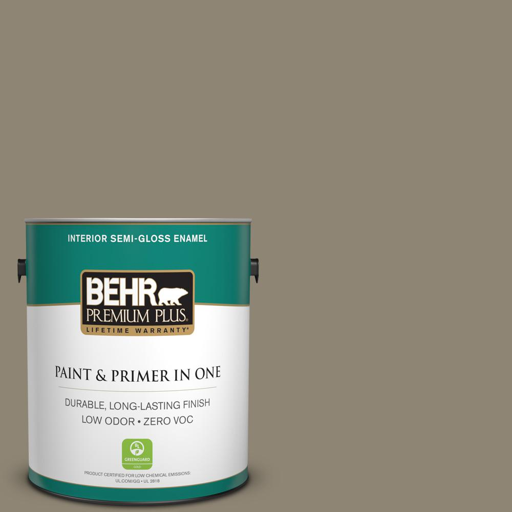 BEHR Premium Plus 1-gal. #ECC-14-2 Great Frontier Zero VOC Semi-Gloss Enamel Interior Paint