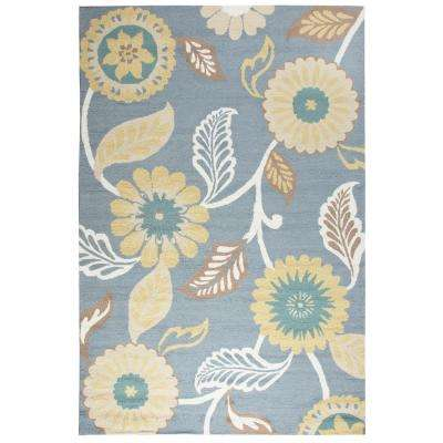 Azzura Hill Gray Floral 9 ft. x 12 ft. Outdoor Area Rug