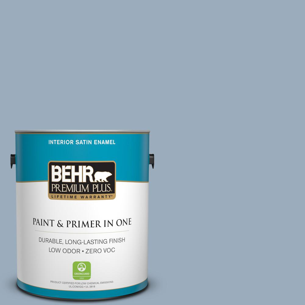 1-gal. #560F-4 Russian Blue Zero VOC Satin Enamel Interior Paint