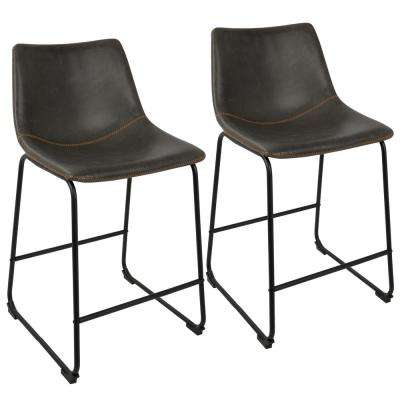 Duke Black and Grey Industrial Counter Stool