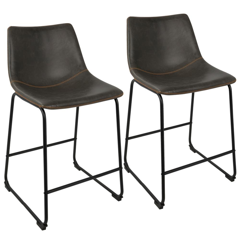 39df24c8309a Lumisource Duke Black and Grey Industrial Counter Stool-B26-DUKZ BK+ ...